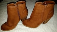 pair of brown leather side-zip booties Vaughan
