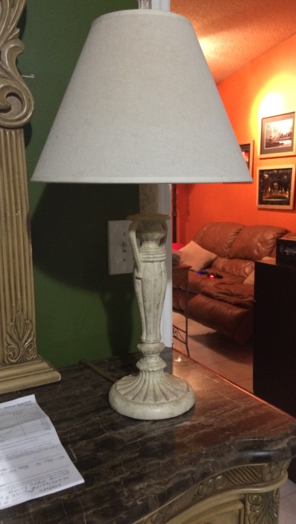 White ceramic base table lamp with white lampshade