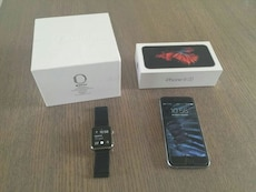 space grey iPhone 6s with box and stainless steel Apple watch with black sports band