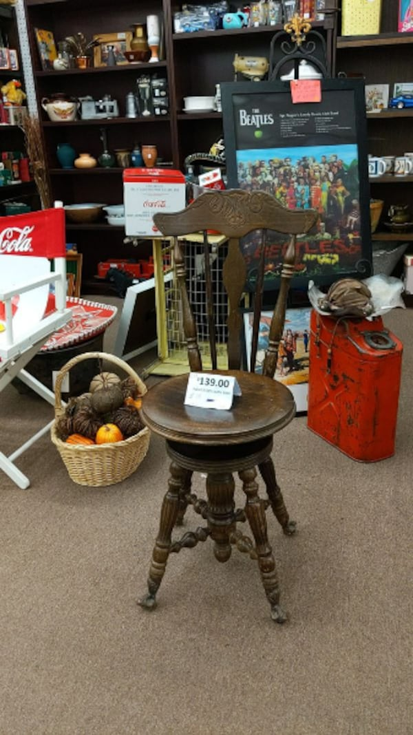 Used Antique Piano Stool With Back For
