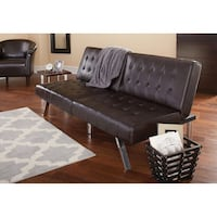 Tufted faux leather brown futon sofa couch lays flat NEW Commerce