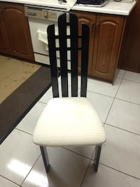 Make me an Offer... black lacquered wood, padded cloth chairs