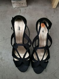 2 prs of open-toe ankle strap heels Boardman