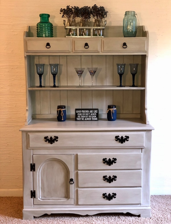 Refinished Vintage Buffet Hutch Can Accept Cash Or Credit Card