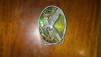 oval green and grey eagle belt buckle