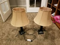 two brown wooden base white shade table lamps Visalia