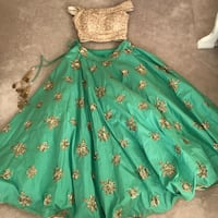 Gorgeous Gold and Green Lengha Surrey, V3S