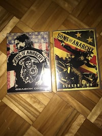 Sons of Anarchy season 1 and 2 DVD cases