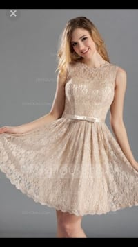 Lace Champagne A-Line/Princess Scoop Neck Knee-length Bridesmaid Dress