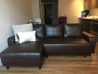 Espresso L sofa leather 44 km