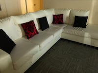 white fabric sectional sofa with throw pillows Toronto, M1P 4T1