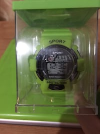 round green and black Sport digital watch with leather strap in box Pawtucket, 02861