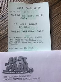 East park golf 18 hole round - weekdays only  London, N5Z