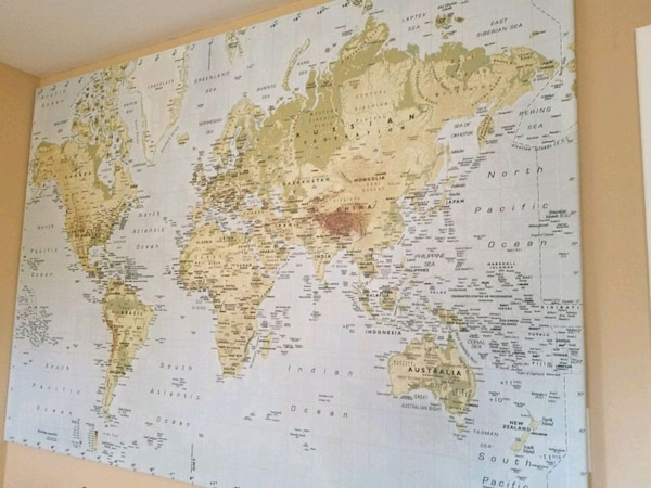 HUGE ikea world map on canvas