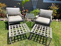 Wrought Iron Patio Chairs (2), Ottomans (2), side table