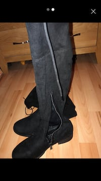 pair of black suede knee-high boots Newport, NP19 9HT