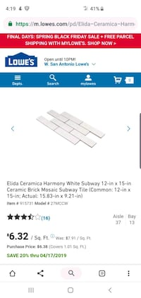 Used Elida Ceramica Harmony White Tiles for sale in San Antonio - letgo