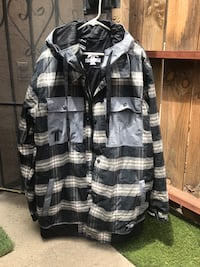 black and gray plaid button-up jacket Santee, 92071