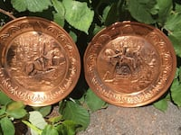 Pair Of 9.5 Inch Copper Renaissance Wall Chargers Made in England  Langley, V3A 2L7