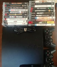 PS3 Slim bundle with two controllers, 10 games 2414 mi