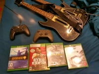 Xbox one  (1t) games 2 remotes 2 guitars