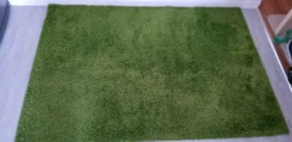 green and white area rug