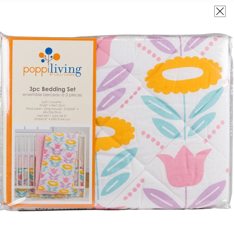 Poppi Living Flower 3-Piece Premium Cotton Crib Bedding Set