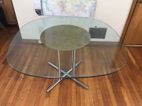 Round glass dining table with stainless steel base 上阿灵顿, 43221