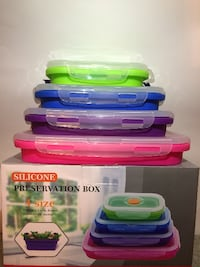 Assorted Color Kitchen Silicone Collapsible Non Stick Food Storage Lunch Box Container RANCHOCUCAMONGA
