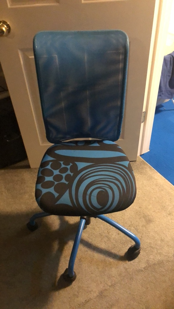 Black And Blue Leather Rolling Chair