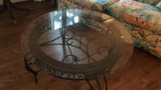 "Wrought iron and glass cocktail table 38"" round"