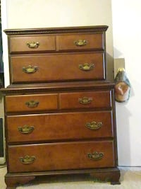 brown wooden 5-drawer tallboy dresser Birmingham, 35209