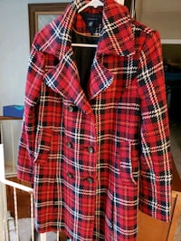 Red plaid wool coat size 12 Nanaimo, V9S 1Y2