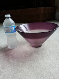 Purple decorative glass bowl