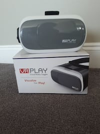white and grey VR Play virtual reality headset
