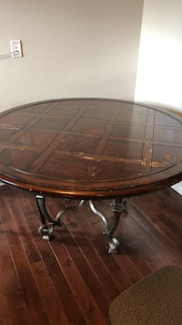 round brown wooden pedestal table Calgary, T2A 4M8