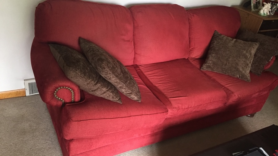 Red Leather Sofa With Throw Pillows : letgo - red leather 3-seats sofa with thr... in Armbrust, PA