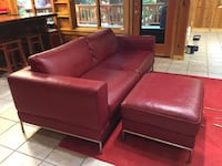 Red leather couch modern contemporary chrome legs & frame Troutdale, 97060