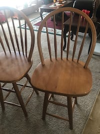 Two brown wooden windsor chairs 59 km