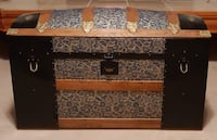 Antique 1880's Dome Top Raised Floral Pattern Steamer Trunk-Beautifully Restored Saint Marys