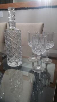 Vintage heavy Crystal Whisky Decanter with 6 Whisky Glasses Brampton