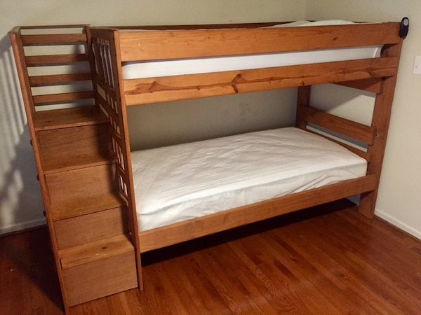 Solid Wood Twin Bunk Beds With Stairs Storage Mattress Included