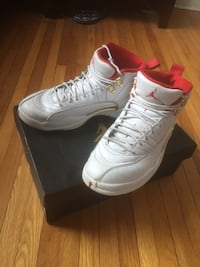 Jordan 12s white and red