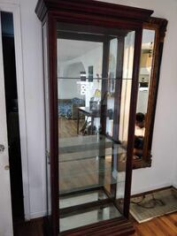Brown wooden framed glass display cabinet San Diego, 92116