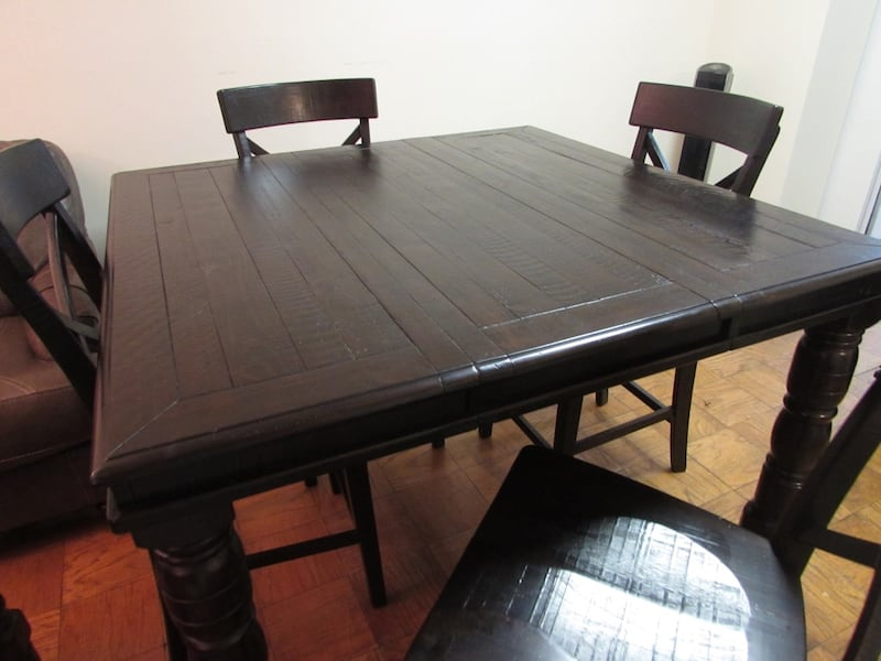 Ashley solid wood dining table with 4 chairs and a bench b2f68f07-9488-4164-84b3-6202cde6b850