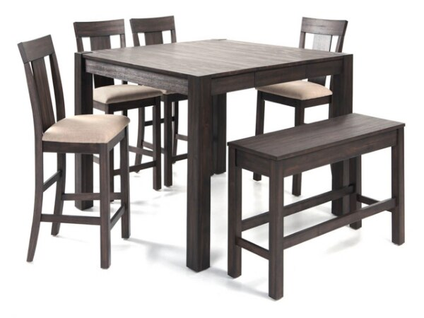 Pleasing Wooden Dining Table Set With Bench And Four Chairs Ncnpc Chair Design For Home Ncnpcorg