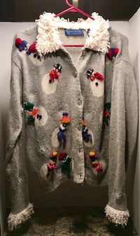 """Grey and white Snowman button-up cardigan with silver snowflake button. Women's size """"XL""""."""