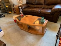 brown wooden frame glass top coffee table Beltsville, 20705