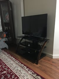 Black flat screen tv with black wooden tv stand.asking 350$ best offer Coquitlam, V3J 7L6