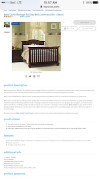 Baby cache heritage conversion kit for crib in cherry  Langley